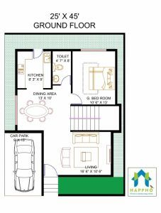 Vastu Complaint 1 Bedroom (BHK) Floor plan for a 25 X 45 feet Plot Sq ft or 125 sq yards). Check out for more 3 BHK floor plans and get customized floor plans for various plot sizes Little House Plans, 2bhk House Plan, Small House Floor Plans, Duplex House Plans, House Layout Plans, Duplex House Design, Bedroom House Plans, Small House Design, Modern House Plans