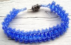 """Blue Lace Bracelet features Czech crystals, Sterling Silver clasp and seed beads. 8"""""""