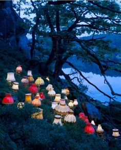 """lasrina: """" lesleegab: """" cutesy: """" by Norwegian conceptual artist Rune Guneriussen """" reminds me of the Mad Hatter's tea party """" All of the lamps that were replaced by IKEA lamps are marching home for. Land Art, Art Environnemental, Art Et Nature, Instalation Art, Light Installation, Art Installations, Environmental Art, Light Art, Public Art"""