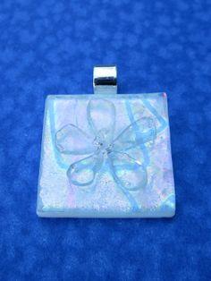 Fused glass flower pendant, fused glass jewelry, art glass - Rainbow dichroic…