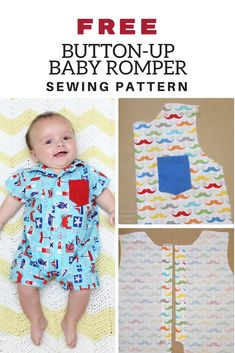 FREE Button-Up Baby Romper. Find this and hundreds of other Free Sewing Patterns… FREE Button-Up Baby Romper. Find this and hundreds of other Free Sewing Patterns and Tutorials at www. Baby Sewing Projects, Sewing Projects For Beginners, Baby Sewing Tutorials, Sewing Crafts, Baby Romper Pattern Free, Free Pattern, Free Baby Patterns, Boys Sewing Patterns, Knit Patterns