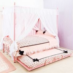 Pink & black dots with ribbons bed set
