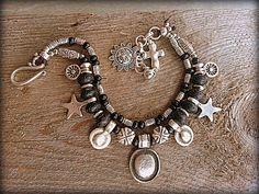 Boho Bracelet Double Strand Beaded Bohemian Bracelet Gypsy Bracelet Hippie accessories  Bohemian Jewelry. Black beads  Charms Sun Cross