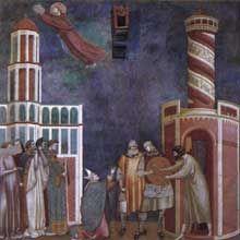 Maestro della Santa Cecilia - La leggenda di San Francesco (su disegno di Giotto): Liberazione dell'Eretico (Scena 28) - affresco - 1295-1299 circa - Chiesa Superiore di San Francesco, Assisi