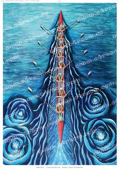 Eight Oars Blue - Rowing eight from above. A variation on a theme. For those of us who just don't like green, Eight Oars has been adapted to suit those with something bluer in mind.