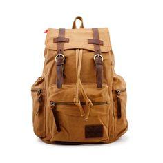 3fcdec05e2 Men s Outdoor Sport Vintage Canvas Military BackBag Shoulder Travel Hiking…  Canvas Backpack
