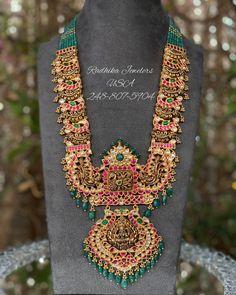 Kundan Rubies Studded Long Haram By Radhika Jewelers! Jewelry Design Earrings, Gold Jewellery Design, Beaded Jewelry, Antique Jewellery, Gold Temple Jewellery, Gold Wedding Jewelry, Gold Jewelry, Bridal Jewelry, Jewelery
