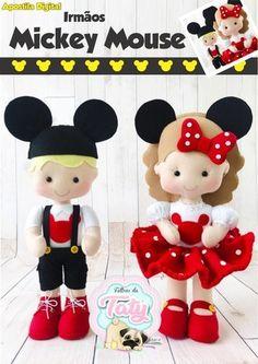 Apostila irmãos mickey mouse Dolls And Daydreams, Bear Felt, Crochet Disney, Felt Crafts Diy, Sewing Stuffed Animals, Tooth Fairy Pillow, Felt Quiet Books, Sewing Dolls, Felt Toys