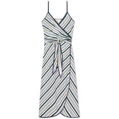 Tory Burch Villa Wrap Dress (9,810 MXN) ❤ liked on Polyvore featuring dresses, cliff stripe, white tie dress, white v neck dress, stripe dress, tory burch dresses and v neck wrap dress