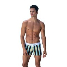 Sauvage Mens Swimwear. We are all well aware of the magic simple stripes possess, which is why it's such a hot print this season. A neat series of multicolored lines look stylish, classic, flattering. These board shorts, are different though. A puckered texture for extra thickness and eye-catching  #sauvagemens
