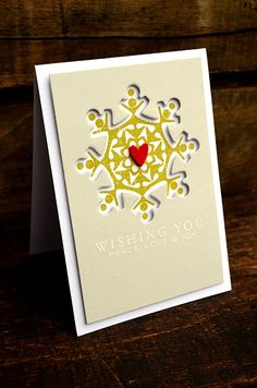 Peace, Love, and Joy Snowflake Card by Jess Witty for Papertrey Ink (September 2012)