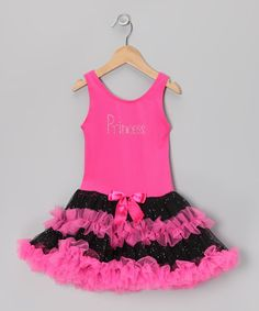 Take a look at this Hot Pink 'Princess' Ruffle Dress - Toddler & Girls on zulily today!