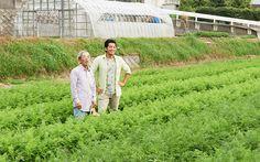 森さんとニンジン畑で話す水田さん。水田さんの表情もイキイキとしています