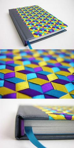 gorgeous hand woven ribbon covered journal - Tridiagonal by Abimael Estrada #cover #weaving
