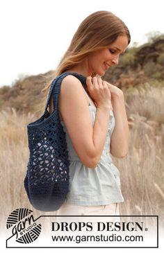 """Free pattern: Crochet DROPS bag in """"Bomull-Lin"""" or """"Paris"""". ~ #DROPSDesign #Garnstudio"""