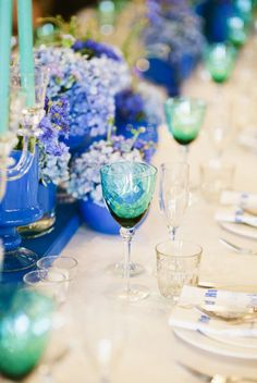 Stunning vintage glasses and blue setting