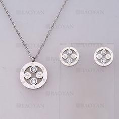 collar y aretes sencilla con cristal de plateado en acero-SSNEG804069