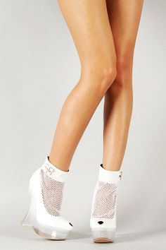 Super Cool Netted Lucite Peep Toe Platform Wedge Bootie
