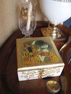 "Купить Шкатулка ""Посвящение Климту"" - шкатулка, шкатулка для украшений, шкатулка деревянная, шкатулка декупаж"