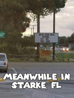 Hurricane Humor: We're open until letters fly off this sign.