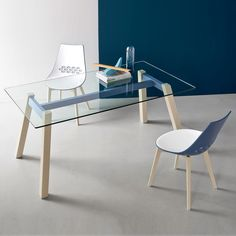 T-Table by Connubia Calligais - bright colour painted frame & glass top…