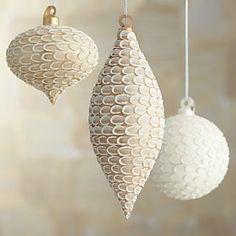Winter White Glitter Streusel Ornaments