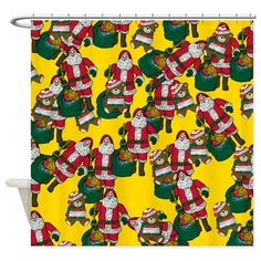 Santa Claus is coming to town. with a teddy bear! Get this shower curtain in time for Christmas. Christmas Items, Best Christmas Gifts, Holiday Shower Curtains, Santa Claus Is Coming To Town, Special Day, Greeting Cards, Teddy Bear, Design, Best Christmas Presents