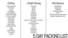 5 Day Minimal Packing List