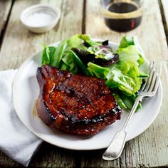 Sticky Honey & Soy pork chops marinate for 20 min to 2 hrs and then pan fry in hot pan basting with sauce- fantastic flavor