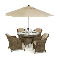 For that intimate outdoor dining experience look no further than the Winchester Rounded Dining set. With gently rounded armchairs this set oozes elegance and comfort. The thick cushions (with removeable covers) will ensure you can sit out for hours.