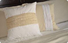 $10 DIY anthro pinktuck pillows vs. anthro 118 dollars