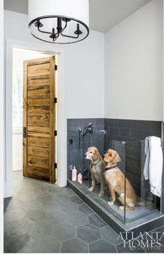 The Sheehans' two golden retrievers, Burton and Roscoe, enjoy the outdoors as much as their children, swimming in the pool on a daily basis. To accommodate the two occasionally soaking-wet dogs, Sheehan incorporated a dog wash in the mudroom right off the Dog Washing Station, Pet Station, Sweet Home, Dog Rooms, Rooms For Dogs, Dog Shower, Slate Shower, House Goals, Interior Design Living Room