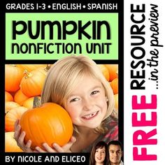 This downloads in English plus a FREE Spanish version. It has a variety of resources for your pumpkin lessons or unit. It includes visuals, vocabulary cards, a nonfiction text, graphic organizers, close reading, math activities and more. I made these pumpkin activities to boost my students' vocabulary development and support literacy skills.
