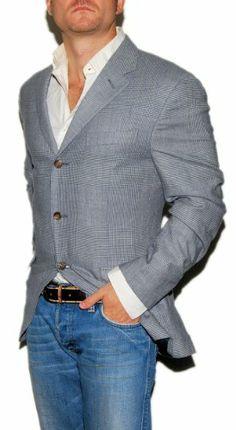 Polo Ralph Lauren Men Cashmere Blazer Sport Coat Navy Glen Plaid Italy 40R