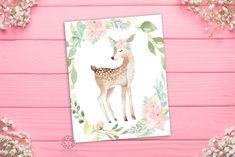 Blush Mint Deer Boho Woodland Wall Art Print Floral Nursery Baby Girl Room Printable Decor