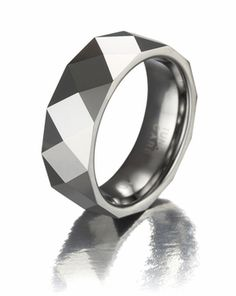 Faceted Male Tungsten Promise Ring for Him