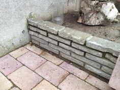 voorbeeld van muurtje met halve stoeptegels