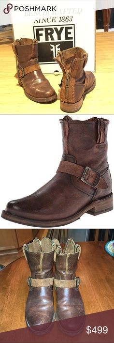 Frye Women's Vicky Artisan Back-Zip Boot size 8 Size 8 Dark brown.   No longer available in this size. Comes with original box-                                    Dark brown leather some leather is oiled some leather is sued on the the back side for different textures  looks. Zipper works well, shoes have been owned for about 2 years. I have newer FRYE boots that is limiting how often these get worn. Very comfortable and willing to sell if I get a good offer.. also see my eBay posting. Where…