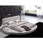 TOSH Furniture - Modern White Leather Headboard Round Bed - TOS-T009-WH-Q  SPECIAL PRICE: $1,289.00