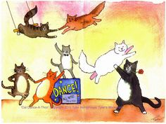 Dancing Cats Greeting Card Funny Cats Watercolor by tylersworkshop, $3.50