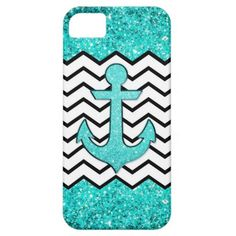 Teal glitter anchor and chevron iPhone 5 cases #glitter #anchor #chevron