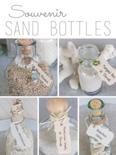 Beach Vacation Memory Bottles - turns your memories into a great decoration vs having the sand in bags in a box!   From overthebigmoon.com!
