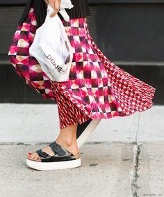 Higher Ground, patterned ankle-length skirt, platform Sacai sandals, red toes / Garance Doré