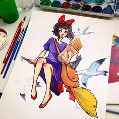 I WANT THIS SO BAD! but I dont have $50 to spend on it. Kiki's Delivery Service Painting · Jacquelin de Leon Illustration · Online Store Powered by Storenvy