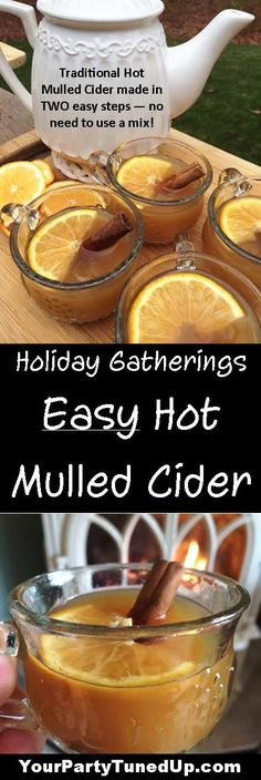 So much better than a mix but so much easier than the traditional way. This Mulled Cider is a long-time recipe gem that is a perfect blend of apple, citrus and spice -- and it makes the house smell amazing! Always a crowd-pleaser! Hot Mulled Cider Recipe, Hot Spiced Cider, Apple Cider Drink, Mulled Apple Cider, Mulled Wine, Apple Cider Mulling Spices Recipe, Holiday Drinks, Holiday Recipes, Fall Cocktails