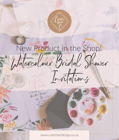 New-Product-bridal-shower-invitations-blog-post-header New Product, Product Launch, Bridal Shower Invitations, Floral Watercolor, Header, Stationery, Place Card Holders, Blog, Design