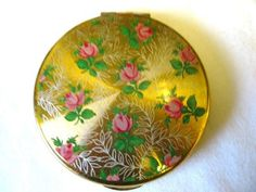 Vintage Kigu Powder Compact Pink Roses Flower Design Pretty | eBay