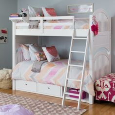 NE Kids Lake House Adrian Twin over Twin Bunk Bed - Bunk Beds & Loft Beds at Hayneedle Bunk Beds Small Room, Loft Bunk Beds, Bunk Beds With Stairs, Kids Bunk Beds, Small Rooms, Kids Rooms, Small Spaces, Double Deck Bed, Double Loft Beds