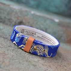 Blue bracelet. Dragon. Japanese jewelry. Mens. Womens. Leather. Kimono. Gift. Japanese clothing. Made in Japan. Gift for him. Gift for her