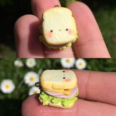 #kawaii #charms #polymer #clay #sandwich #salad #cheese